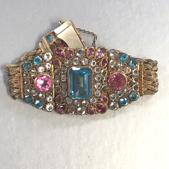 HOBE bracelet that features brilliant unfoiled aqua, pink and clear rhinestones