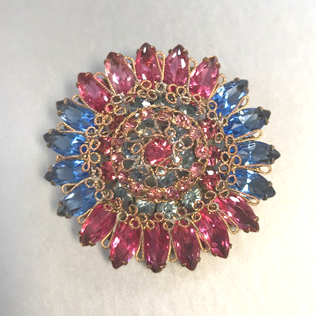 ORIGINAL by ROBERT pink and blue rhinestones brooch with a flip-up loop on the back