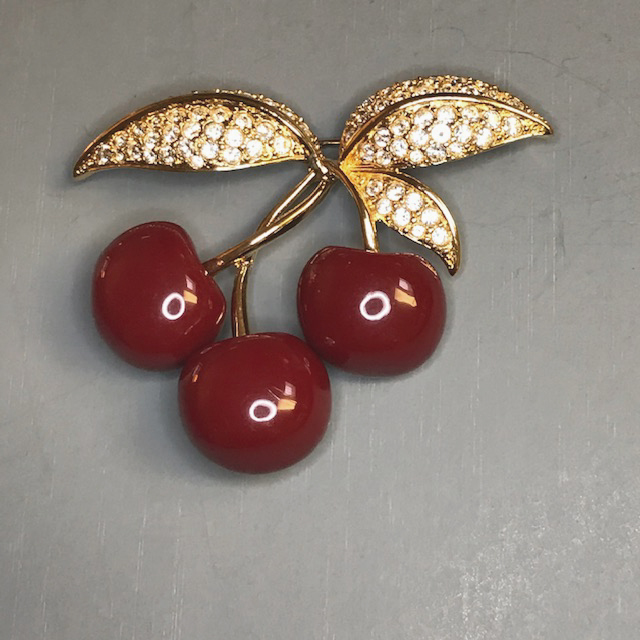 JOAN RIVERS red enameled cherries brooch with clear rhinestone leaves