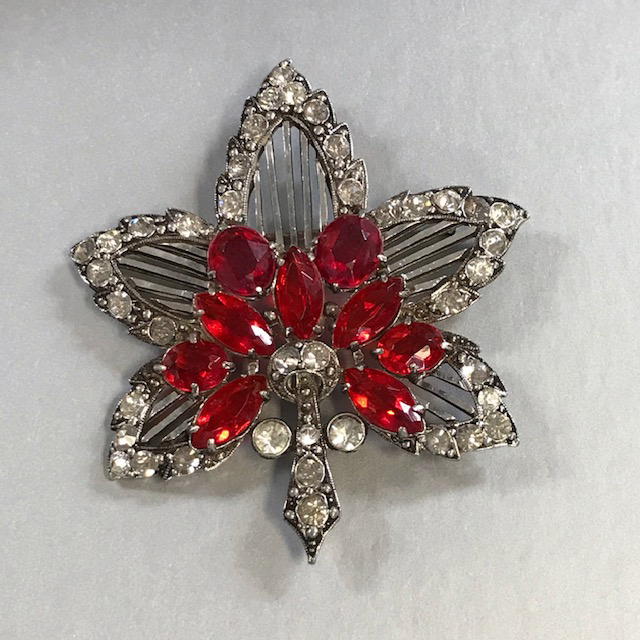 STARET leaf brooch with dazzling red and clear rhinestones set in silver