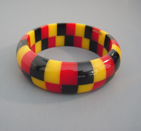 SHULTZ bakelite two row check bangle in red, yellow and black
