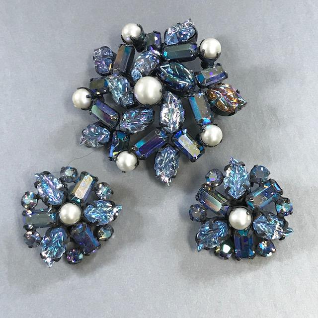 REGENCY brooch and earrings with blue pressed glass leaves