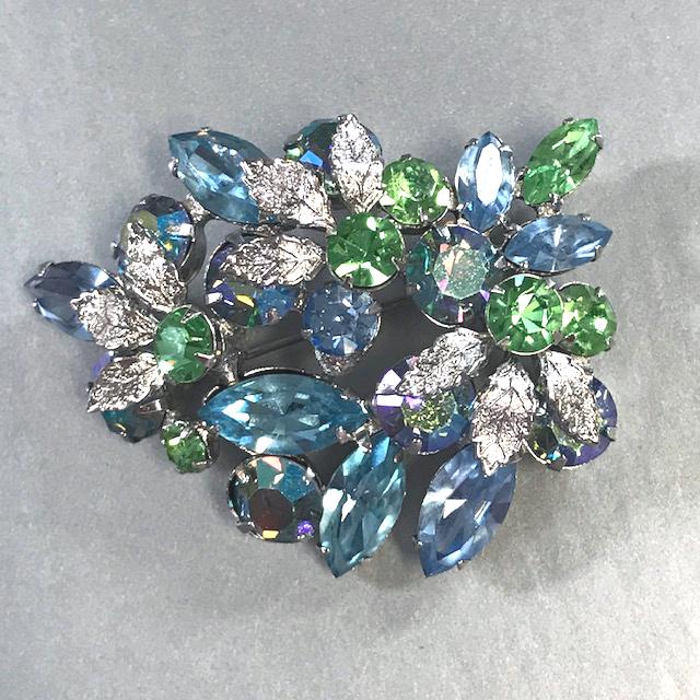 REGENCY pastel blue, green and aurora borealis rhinestones brooch