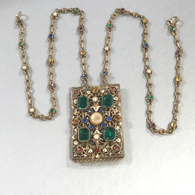 AUSTRO-Hungarian revival style necklace with green, blue, topaz colored, and pink rhinestones
