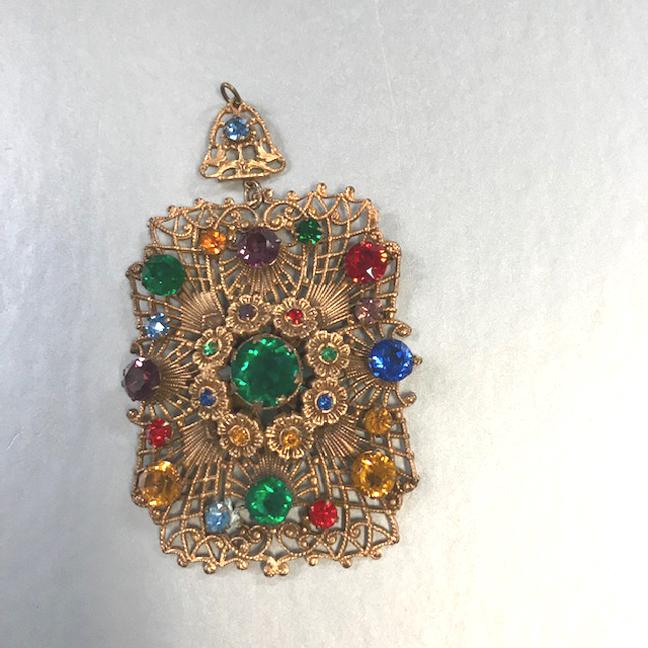FILIGREE Austro-Hungarian style rectangular pendant, with colorful rhinestones