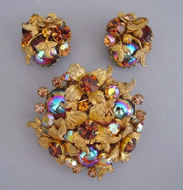 DEMARIO amber and aurora colored rhinestones, glass cabochons brooch and earrings