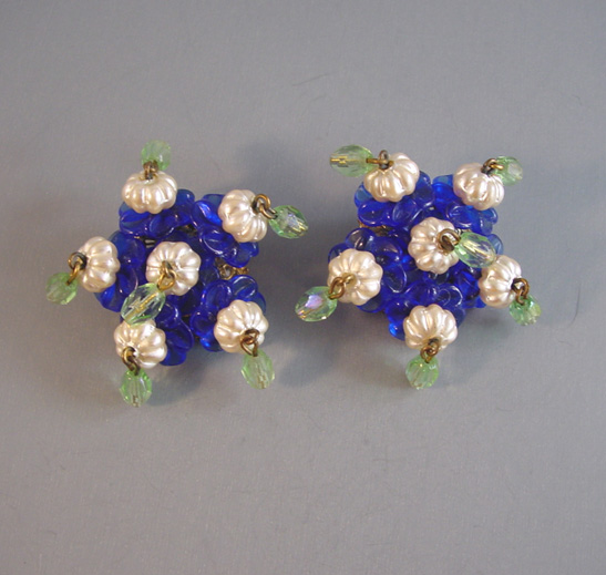 MIRIAM HASKELL Frank Hess earrings in little blue flower shapes and green glass beads and melon shaped glass pearls