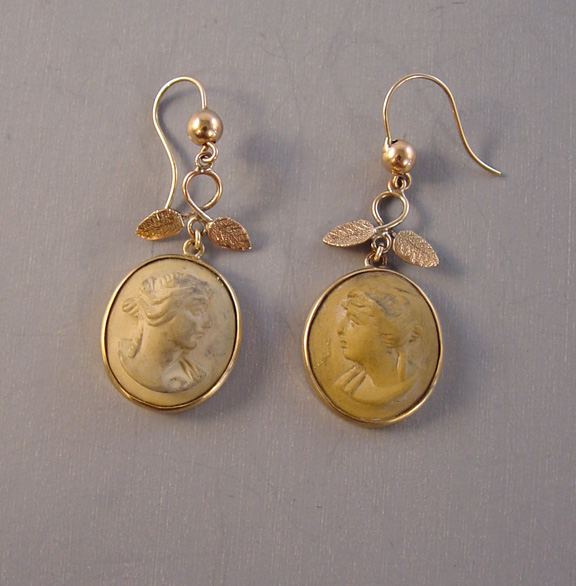 VICTORIAN antique 10k lava cameo earrings