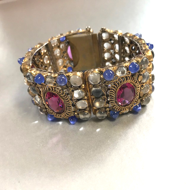 HOBE rare bracelet with clear and blue half-bullet shaped rhinestones, dramatic pink oval stones and clear rhinestones