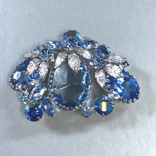 REGENCY brooch with pastel baby blue rhinestones and aurora borealis