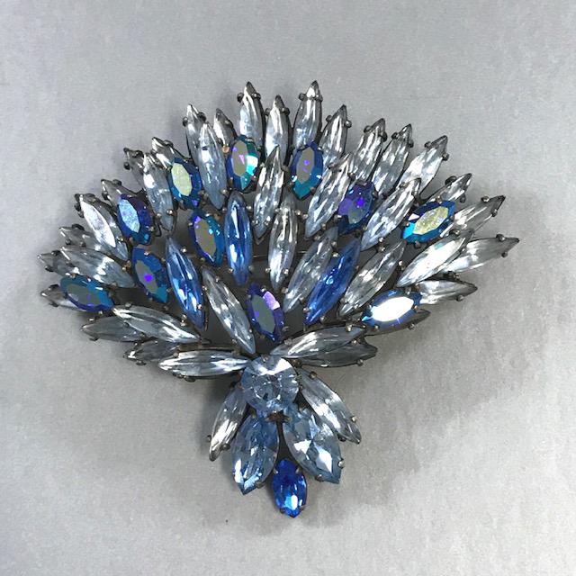 REGENCY dramatic fan shaped brooch in pastel blue long marquis and blue aurora borealis rhinestones