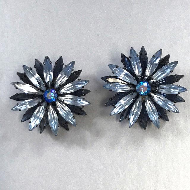 REGENCY earrings with long marquis rhinestones in baby and medium blue